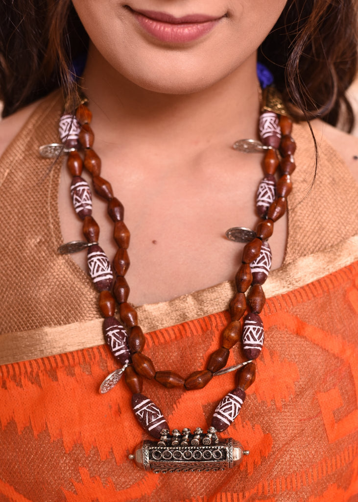 Exclusive wooden beaded necklace with german silver pendant - Sujatra