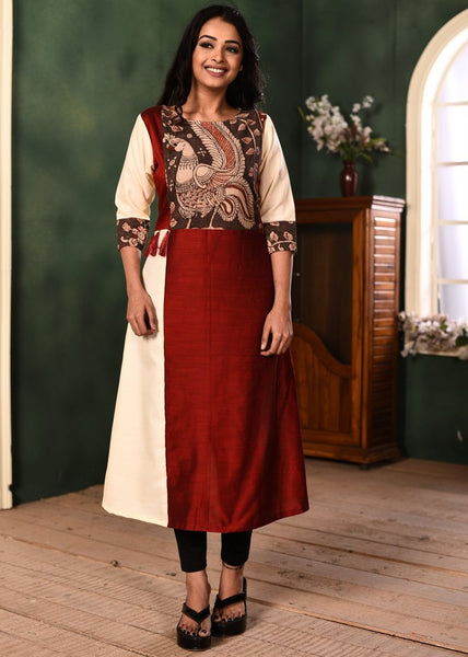 Maroon & off white cotton silk combination kurti with hand painted kalmakari yok