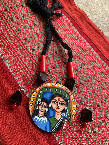 Exclusive hand painted ethnic necklace