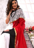 Red & White chanderi comtbination with exclusive printed border - Sujatra