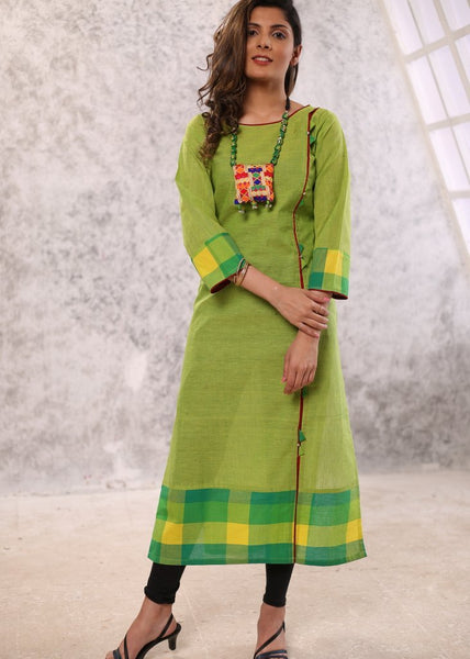 Green handloom cotton kurta with chequered borders