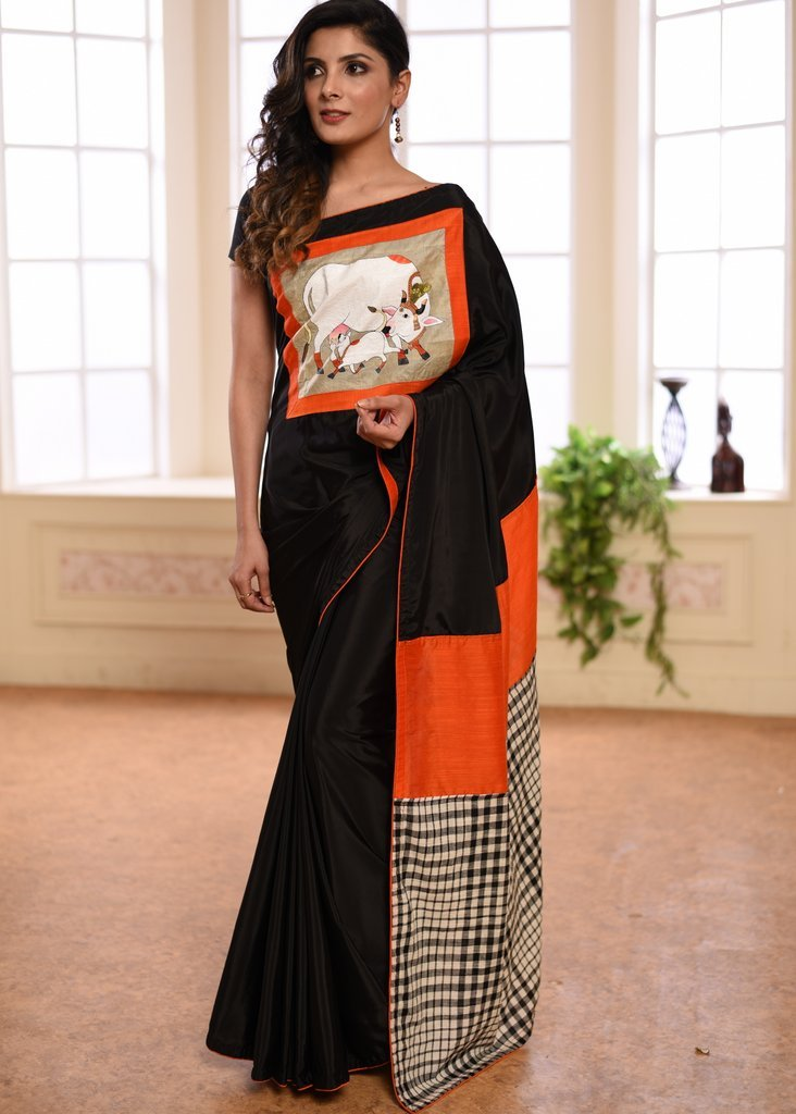 Black french crepe with hand painted patch on front & checks handloom cotton pallu - Sujatra