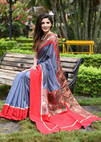 Grey slub chanderi saree with exclusive benarasi border & patch on pallu