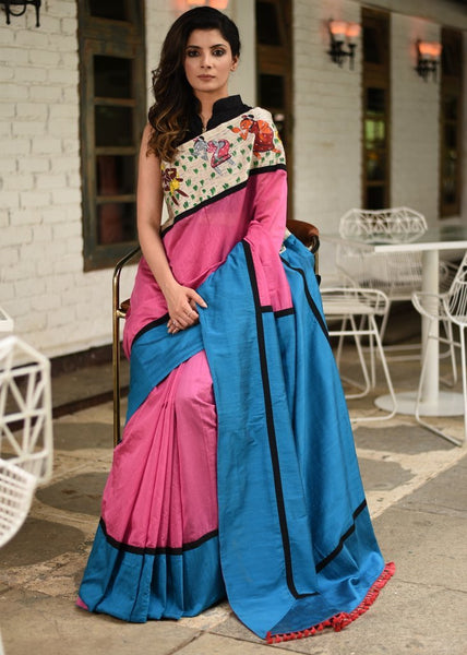 Exclusive hand painted saothal tribal art combination with pink chanderi saree & cotton silk pallu