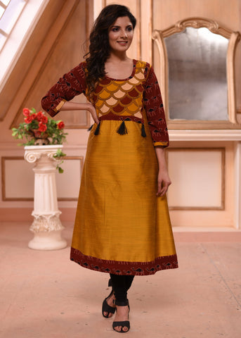 Mustard cotton silk kurti with block printed ajrakh combination