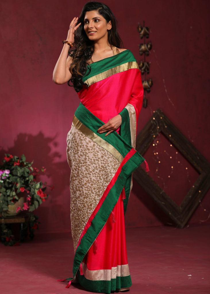 Pink Crepe Satin saree with embroidered pallu