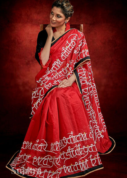 Red chanderi saree with exclusive lipi hand painting