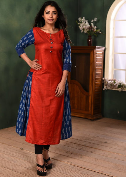 Combination of red cotton silk and exclusive blue ikat kurti - Sujatra