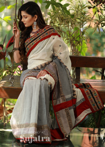 Bengal handloom saree with exclusive kutch mirror work combination