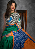 Green crepe satin saree with hand painted madhubani work & ikat pallu