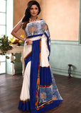 White french crepe saree with hand painted gond tribal art - Sujatra