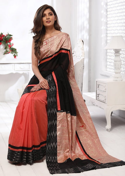 Peach & black chanderi combination saree with pure silk printed & ikat border