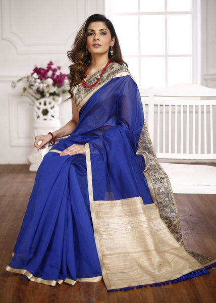 Blue Chanderi saree with tassar silk pallu & hand painted madhubani border