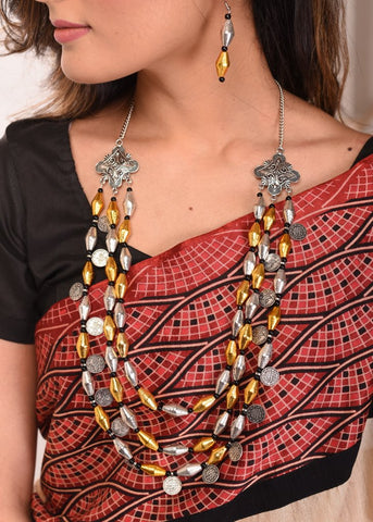 Exclusive silver & golden color beaded necklace set with coin tassels