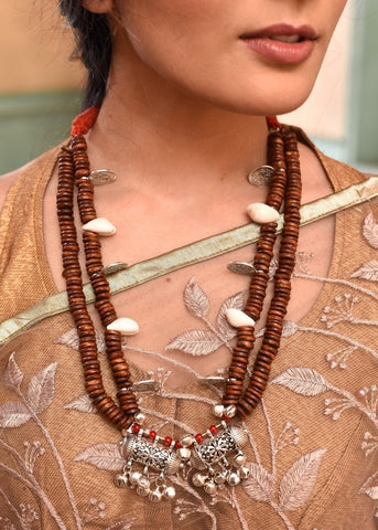Exclusive wooden beaded necklace with german silver pendant