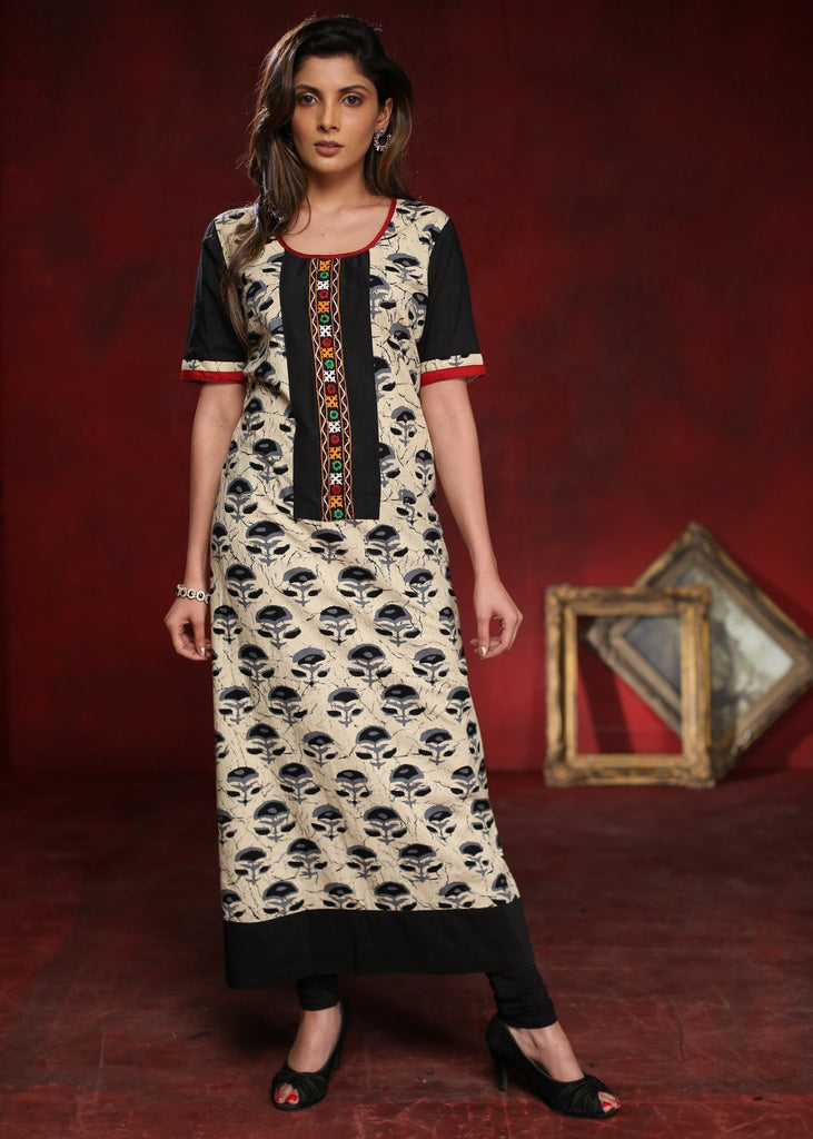Black flower motif block printed A-line cotton kurta with with kutch mirror work