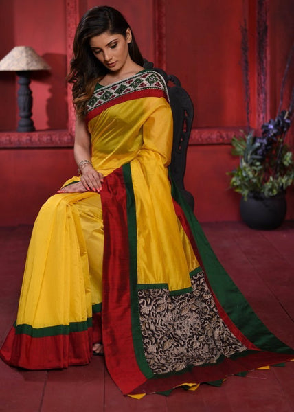 Yellow chanderi saree with hand work Guajarati embroidered border & kalamkari printed pallu