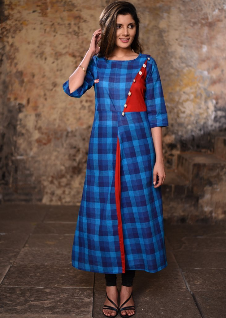 Blue chequered handloonm cotton kurti with cowrie