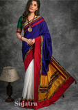 Khun & chanderi combination saree with ikat border
