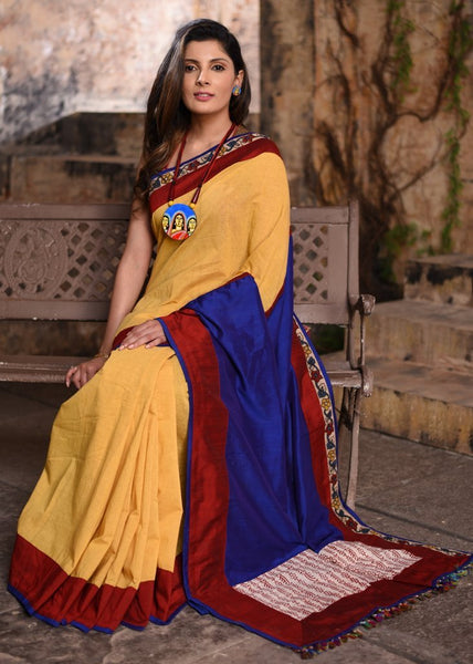 Yellow handloom cotton saree with cotton silk pallu & kalamkari border