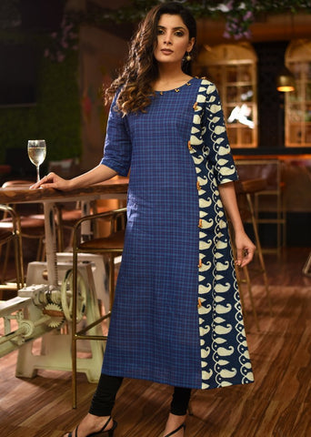 Exclusive checks handloom cotton kurti with indigo combination