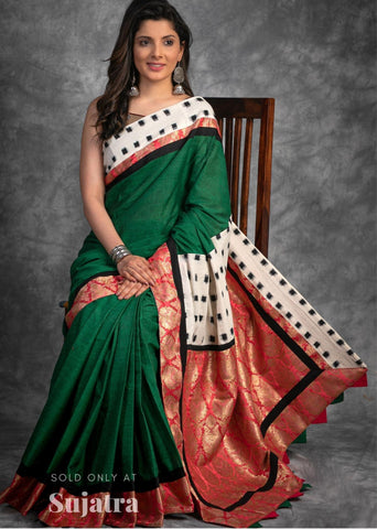 Forest green handloom cotton saree with ikat border & benarasi pleats