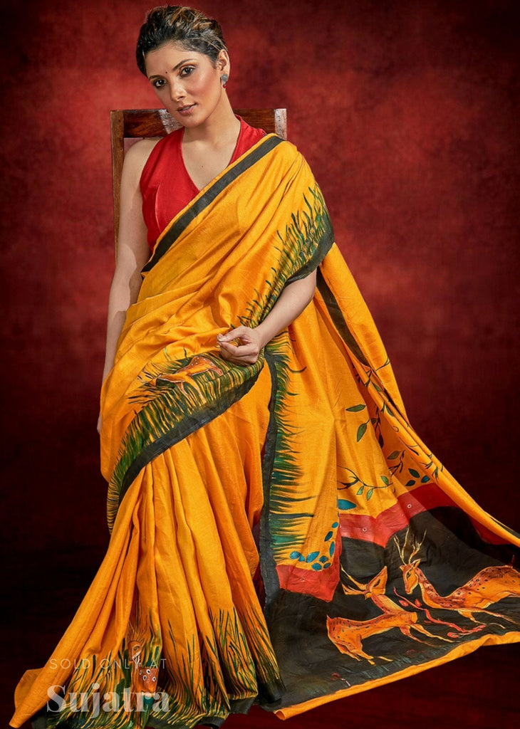 Mustard semi silk saree with exclusive hand painting all over