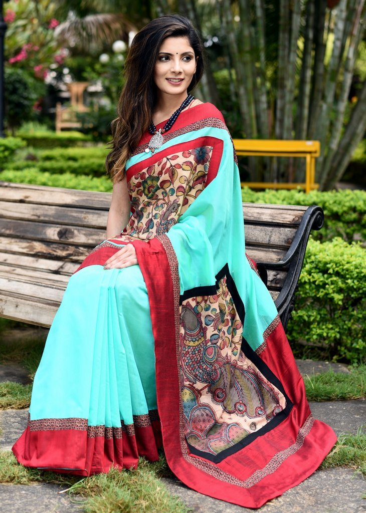 Green chanderi saree with hand painted kalamkari patches on front & pallu - Sujatra