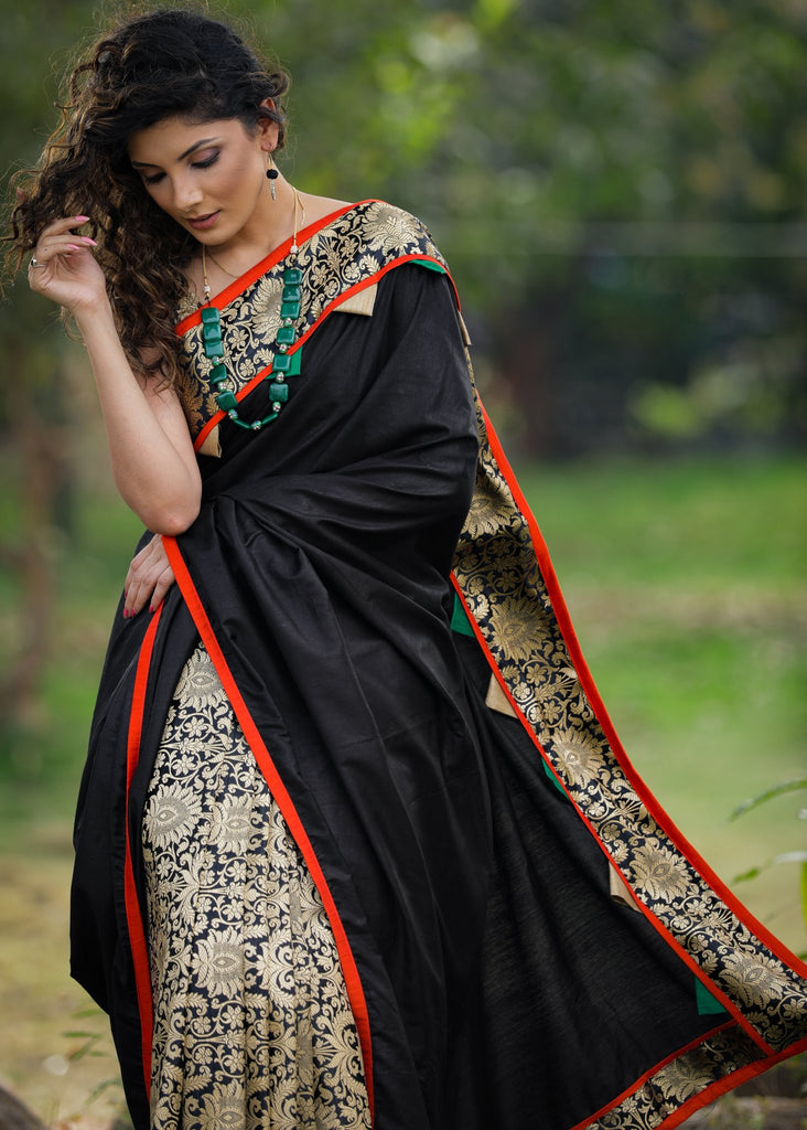 Black semi silk saree with exclusive benarasi pleats & border