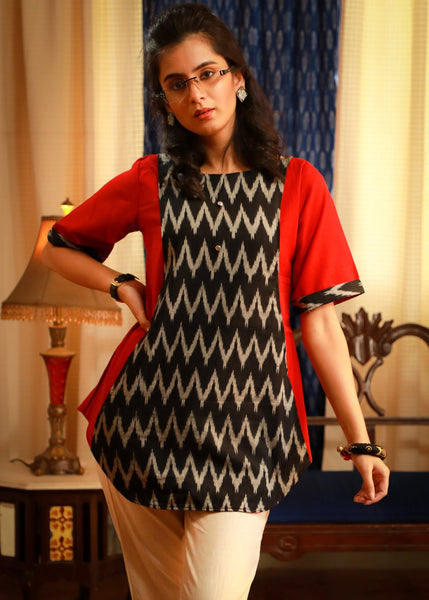 Classic red & black zig zag ikat combination pure cotton top