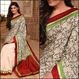 Exclusive summer printed cotton saree with off white chanderi pleats