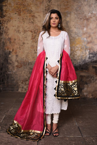 Pink Chanderi dupatta with benarasi work and samosa border