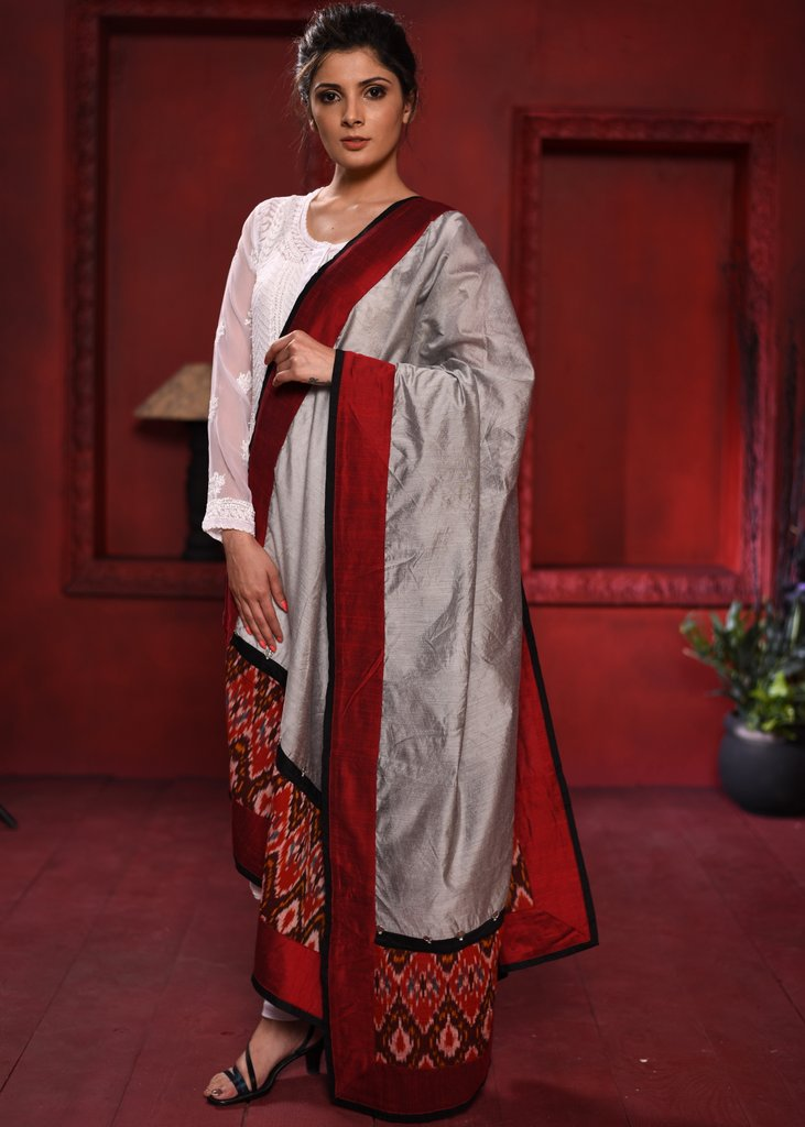 Grey chanderi dupatta with exclusive ikat work - Sujatra