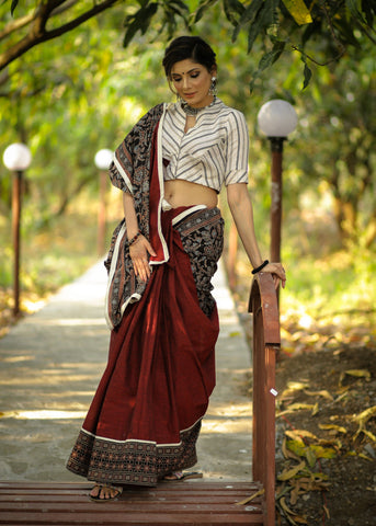 Exclusive block printed Ajrakh & maroon handloom cotton combination saree