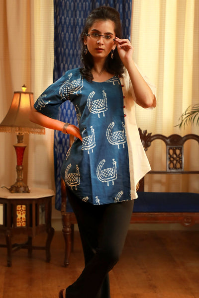 Indigo blue & off white combination elegant pure cotton top
