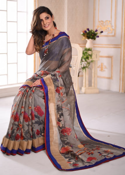 Exclusive printed grey cotton linen mix saree - Sujatra