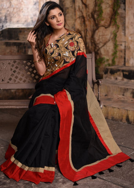 Black chanderi saree with exclusive hand painted border