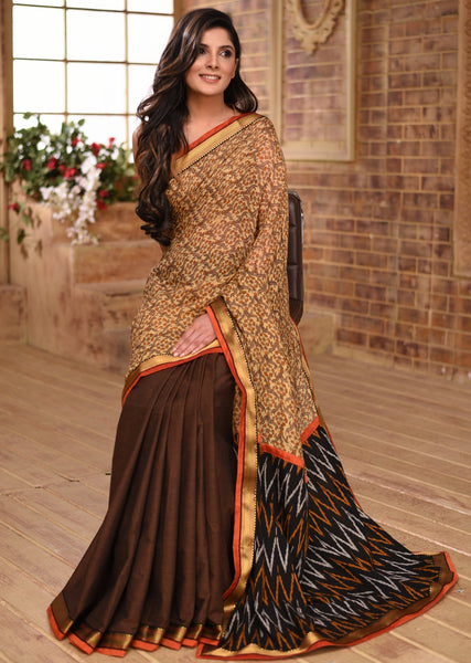 Exclusive Linen & handloom cotton combination saree with ikat pallu