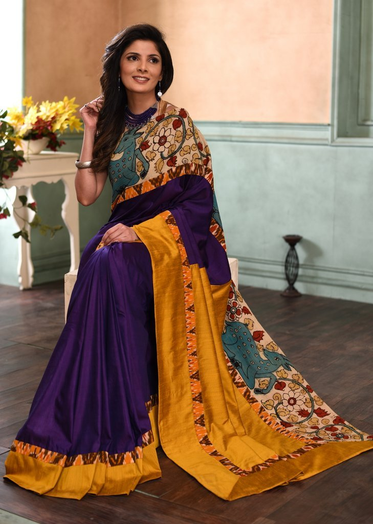 Purple semi silk saree with exclusive hand painted kalamkari border - Sujatra