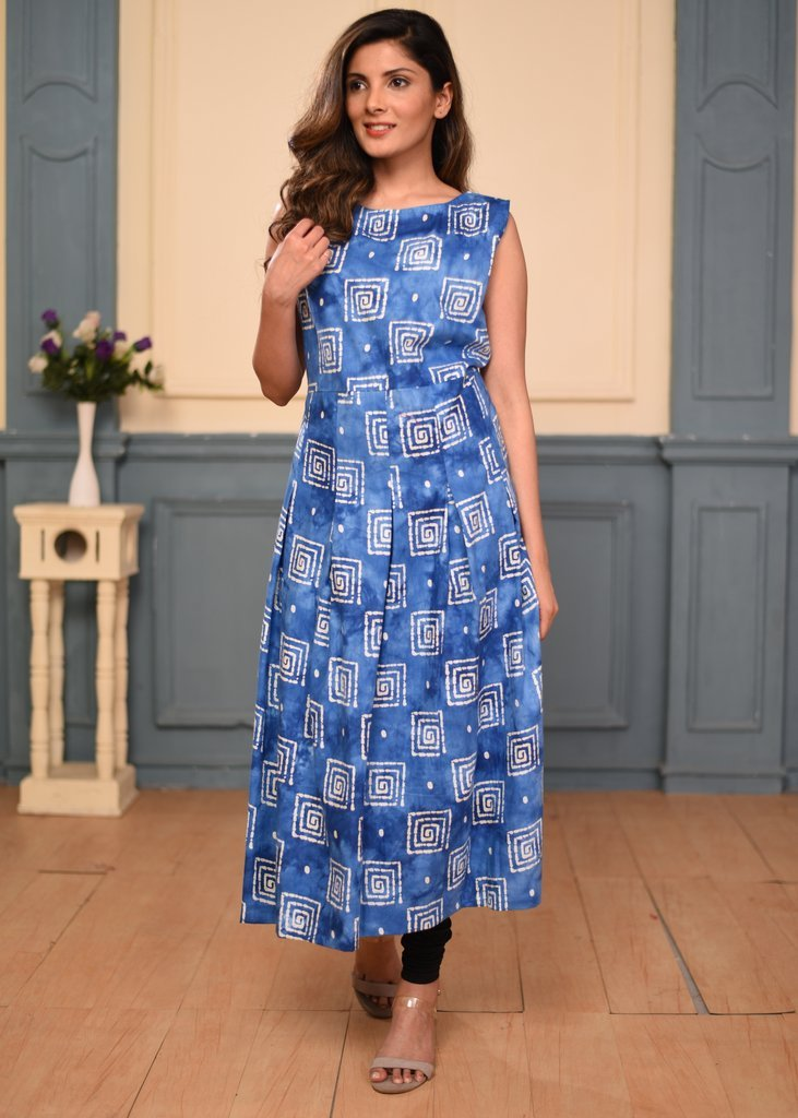 Blue batik cotton printed ankle length dress