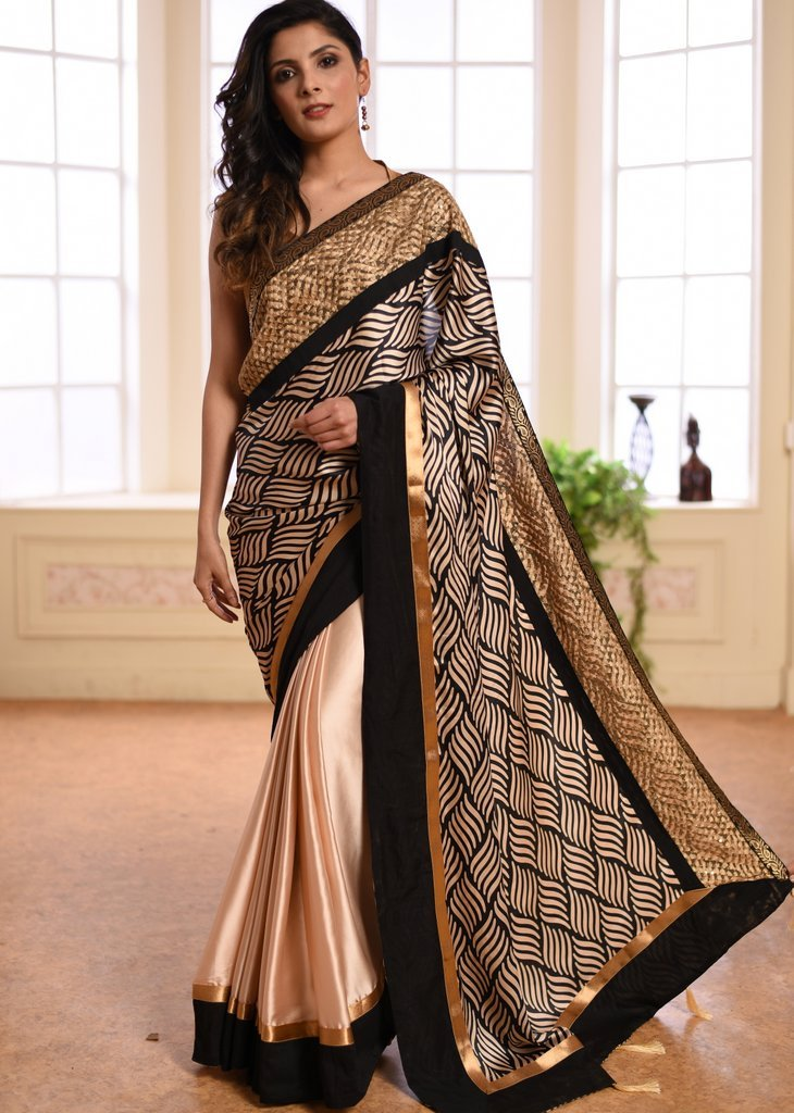 Exclusive printed satin saree with satin pleats with zari border - Sujatra