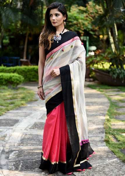 Exclusive printed chanderi with zari border & pink chanderi pleats saree
