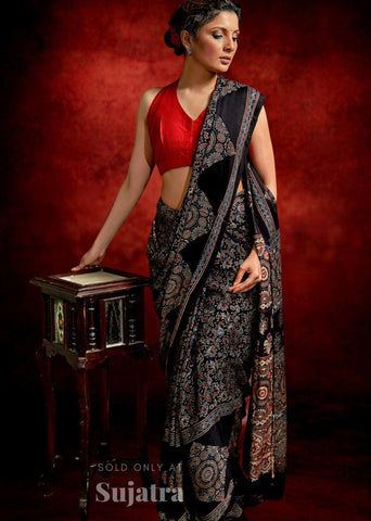 Exclusive Ajrakh block printed black modal silk saree