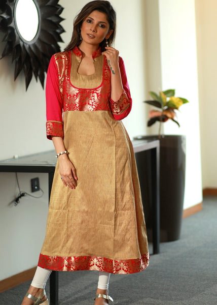 A -line Bhagalpur silk Kurta with contrasting Banarasee work combination