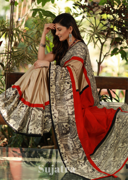 Exclusive beige semi silk saree with madhubani printed border - Sujatra