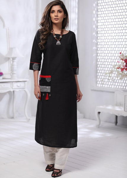 Black cotton silk dress with coin tassels & printed patch pocket - Sujatra