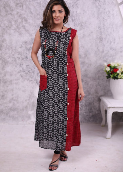 Combination of red & black handloom cotton with woven black ikat design kurta