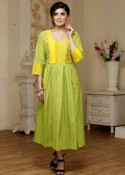 Green & Yellow combination handloom cotton long kurti - Sujatra