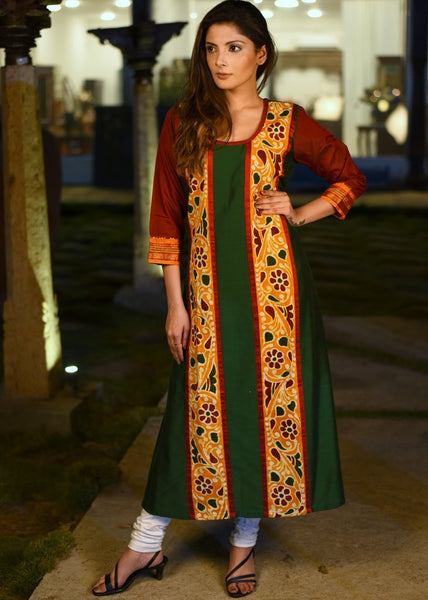 Forest green cotton silk kurti with hand batik combination