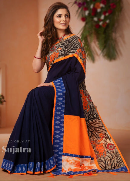 Blue handloom cotton saree with hand painted madhubani work & ikat border - Sujatra